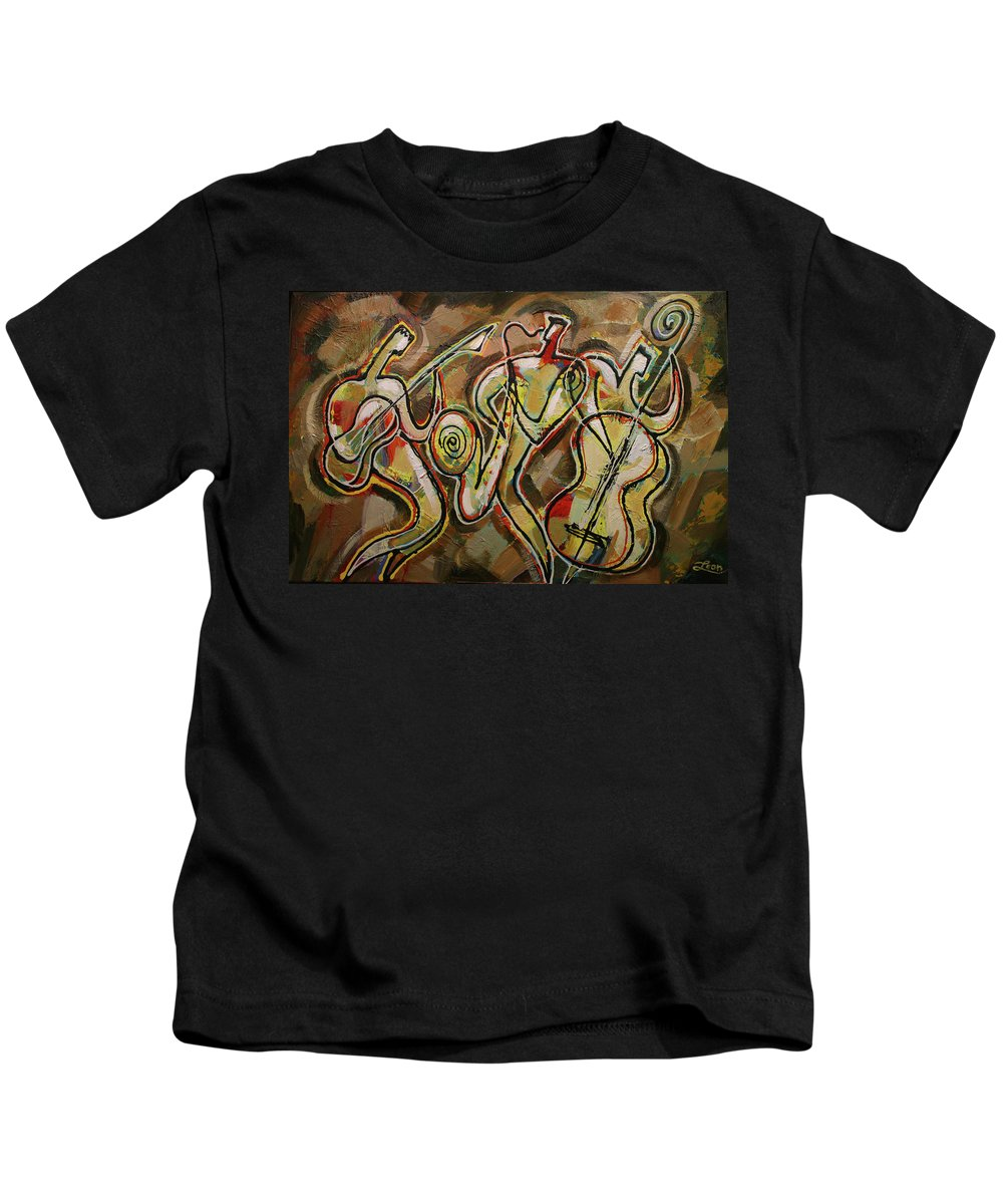 West Coast Jazz Kids T-Shirt featuring the painting Cyber Jazz by Leon Zernitsky