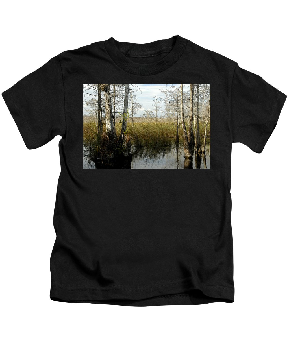 Cypress Trees Kids T-Shirt featuring the painting Cypress Landscape by David Lee Thompson