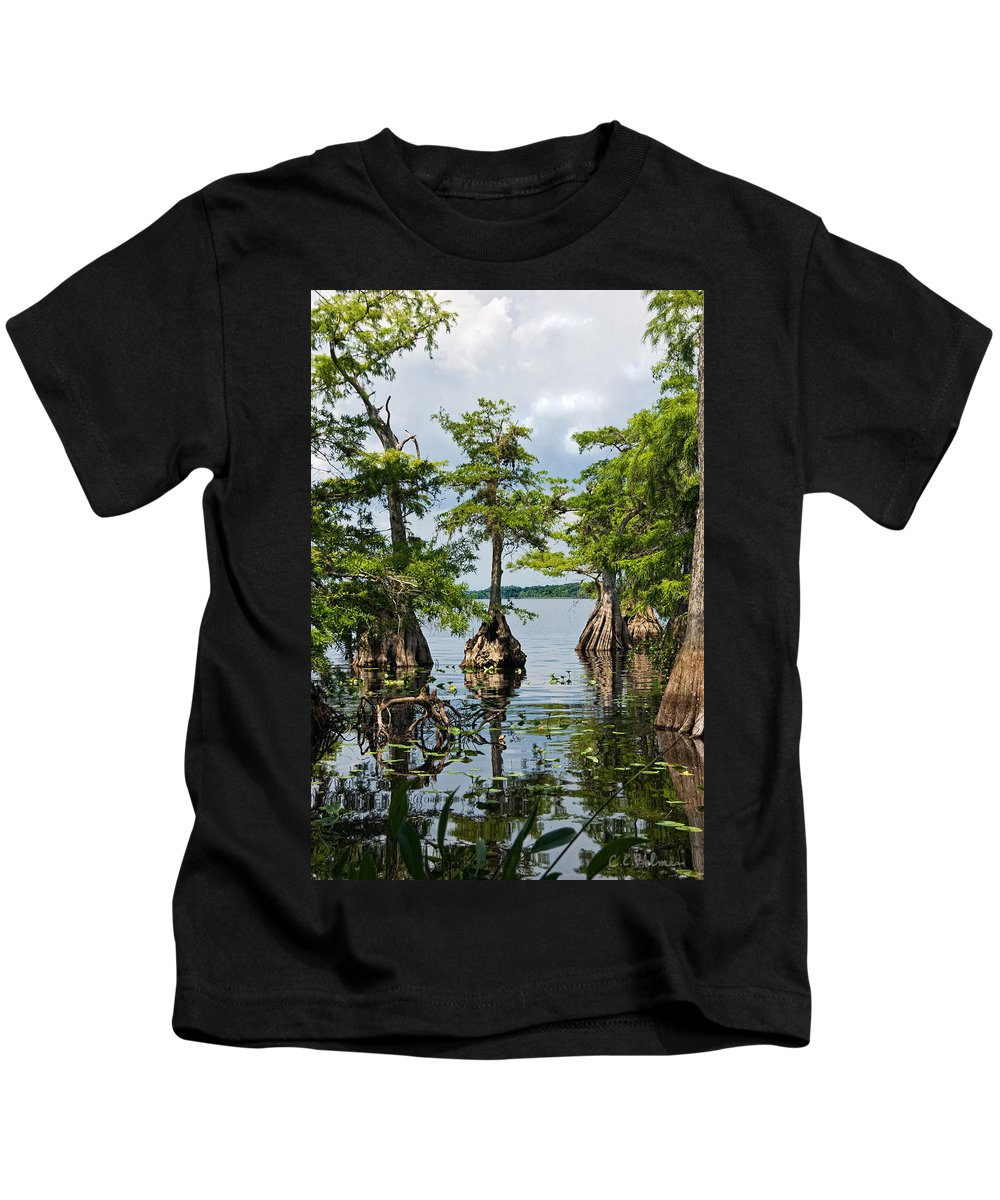 Trees Kids T-Shirt featuring the photograph Cypress Reflections by Christopher Holmes