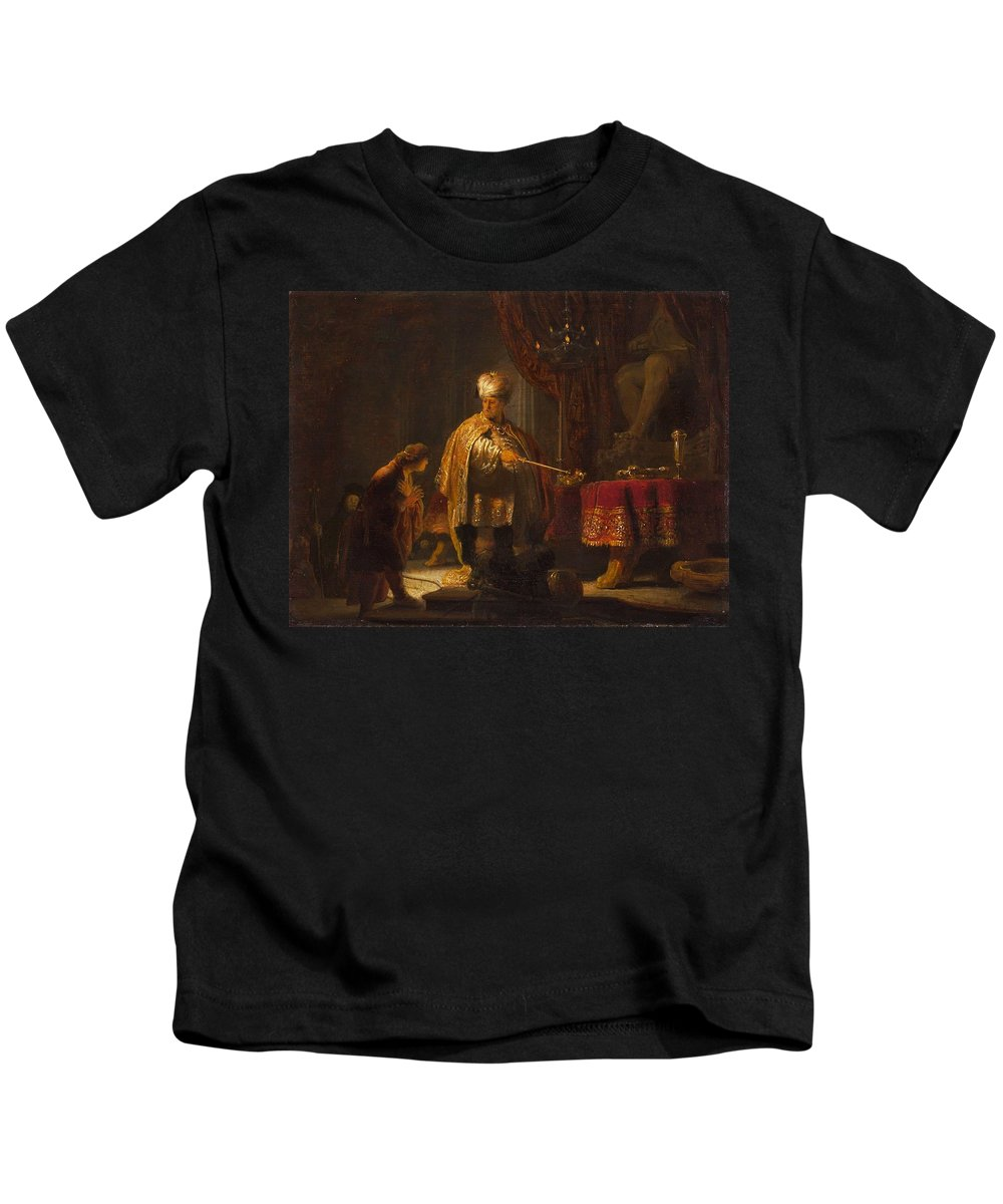 Rembrandt Van Rijn - Daniel & Cyrus Before The Idol Bel 1633 Kids T-Shirt featuring the painting Cyrus Before The Idol Bel by MotionAge Designs