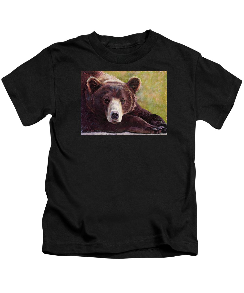 Bear Kids T-Shirt featuring the painting Da Bear by Billie Colson