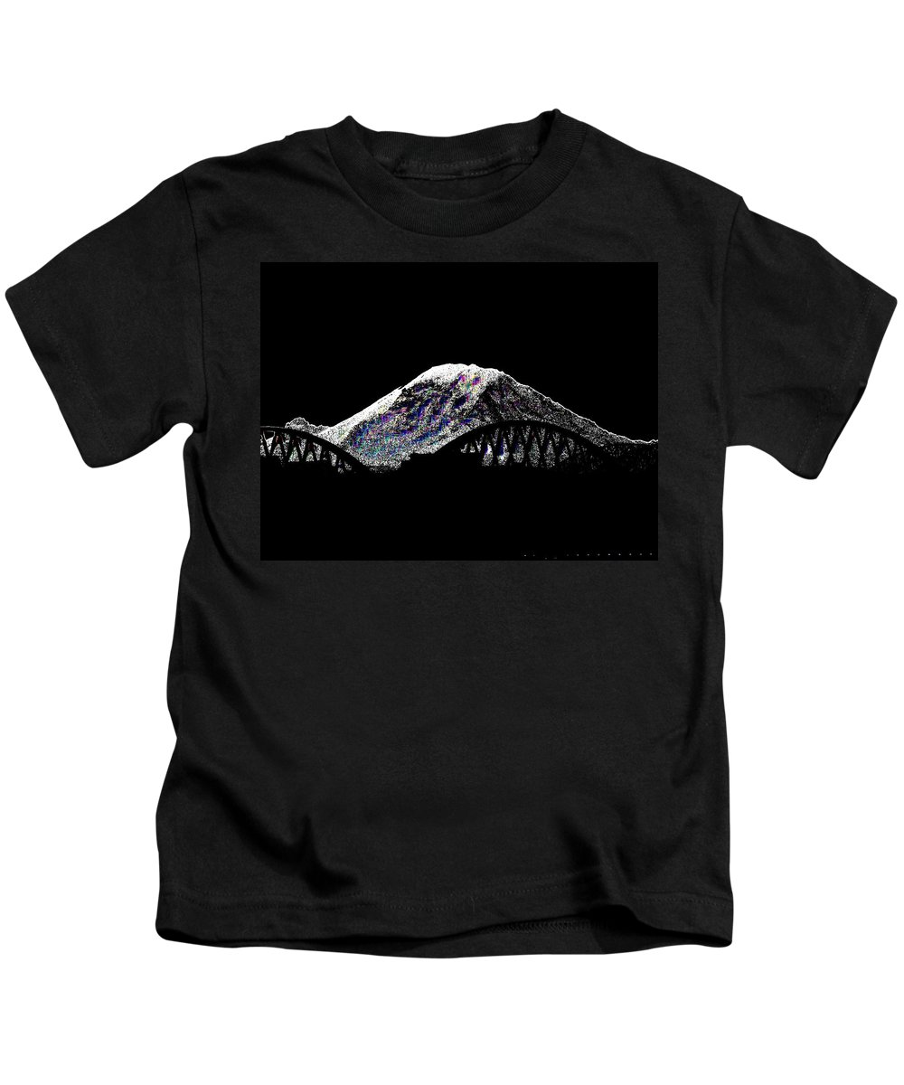 Mount Rainier Kids T-Shirt featuring the digital art Da Mountain And Stadia by Tim Allen