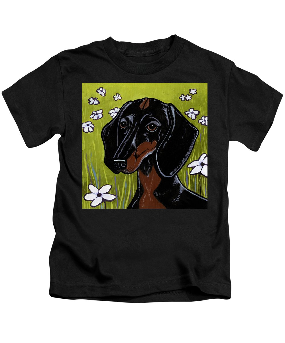 Dachshund Kids T-Shirt featuring the painting Dachshund by Leanne Wilkes