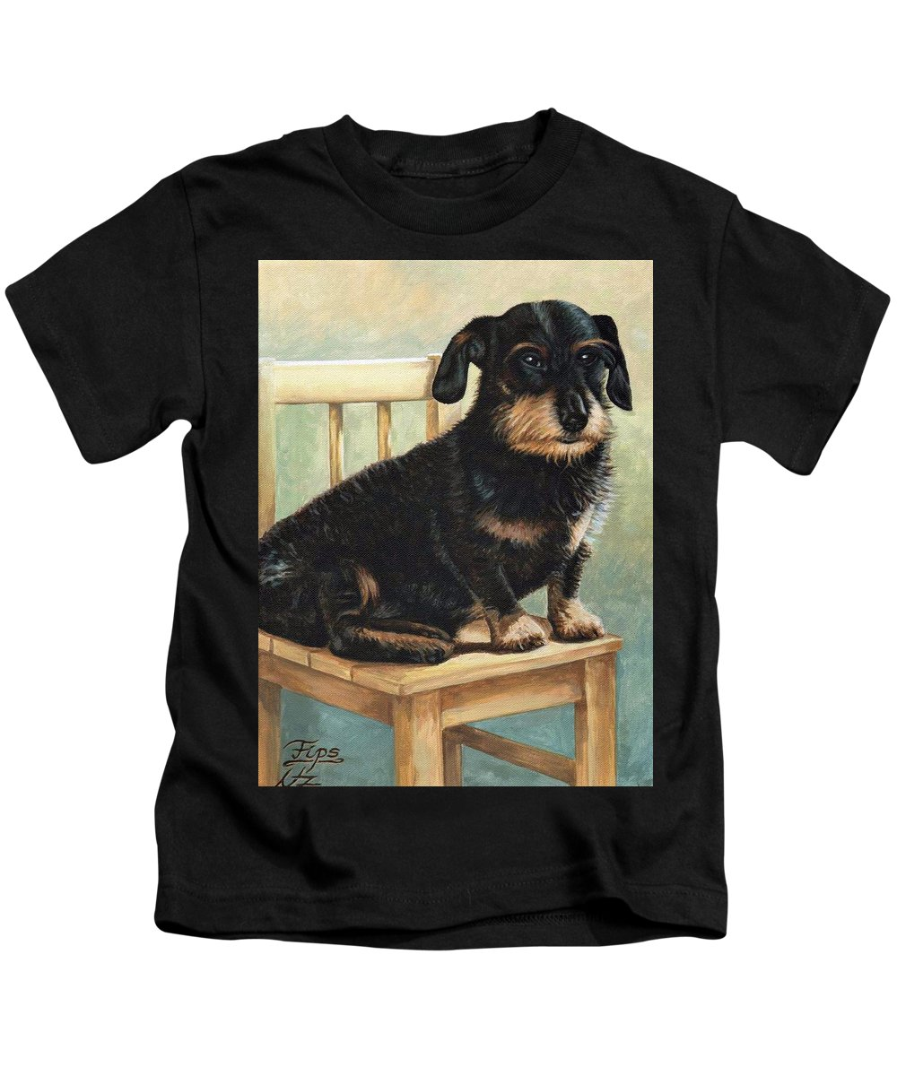 Dog Kids T-Shirt featuring the painting Dachshund by Nicole Zeug