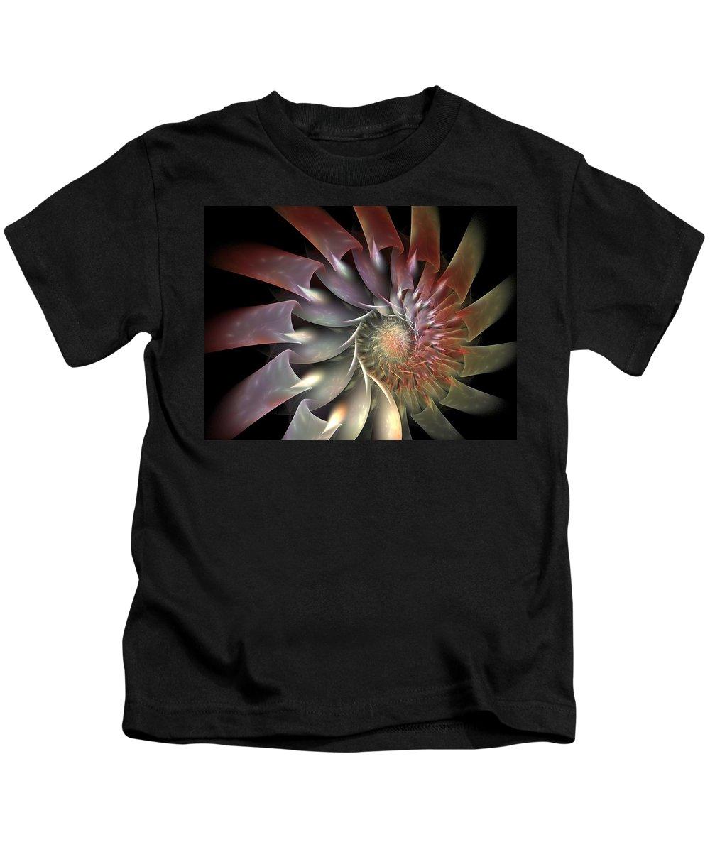 Fractal Kids T-Shirt featuring the digital art Dahlia by Amorina Ashton