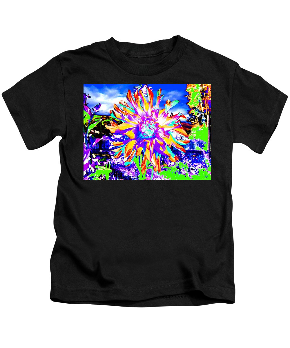 Dahlia Kids T-Shirt featuring the digital art Dahlia Dazzle by Will Borden