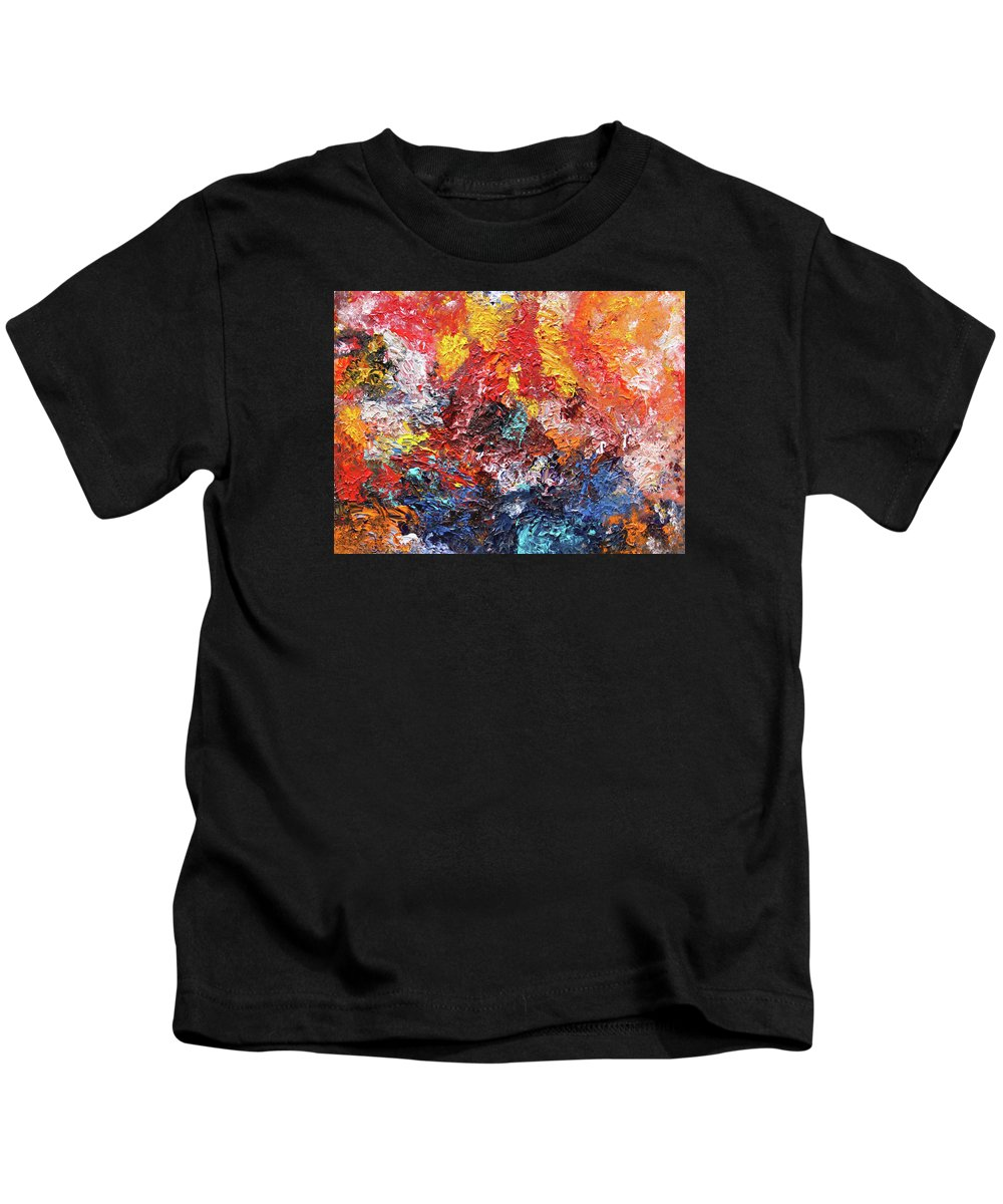 Fusionart Kids T-Shirt featuring the painting Dahlias by Ralph White