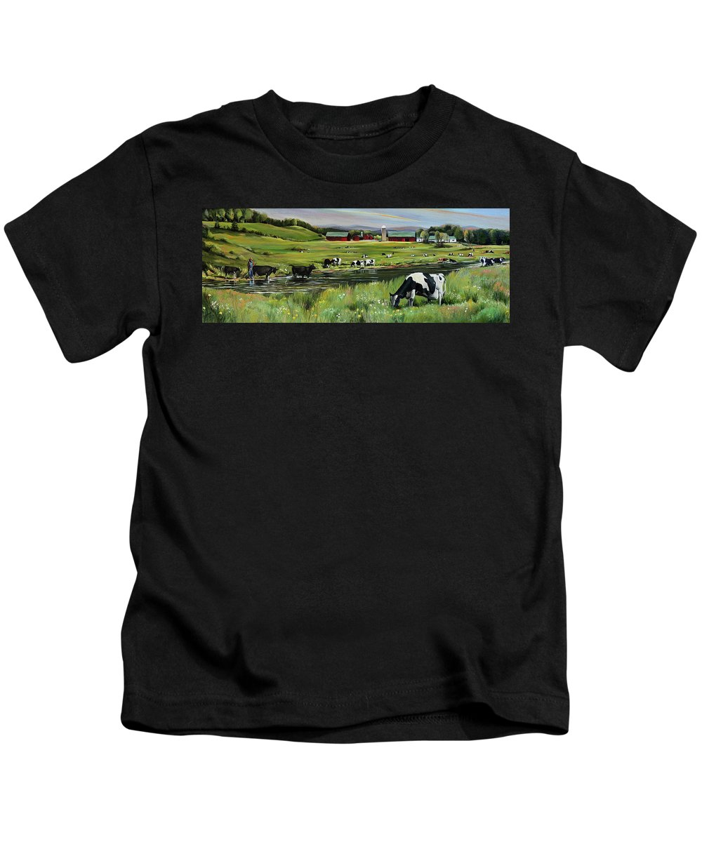 Landscape Kids T-Shirt featuring the painting Dairy Farm Dream by Nancy Griswold