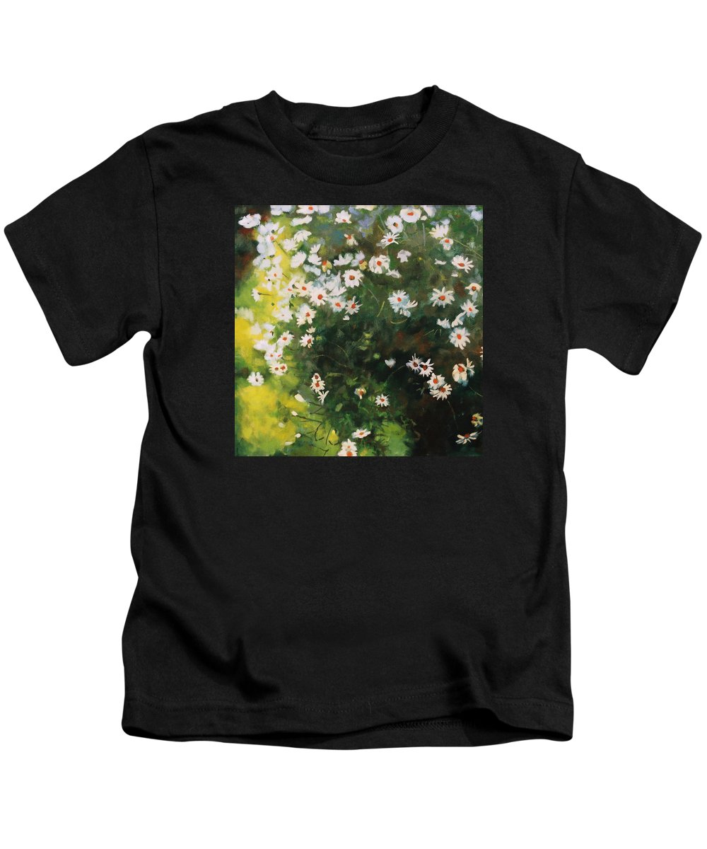 Daisies Kids T-Shirt featuring the painting Daisies by Iliyan Bozhanov