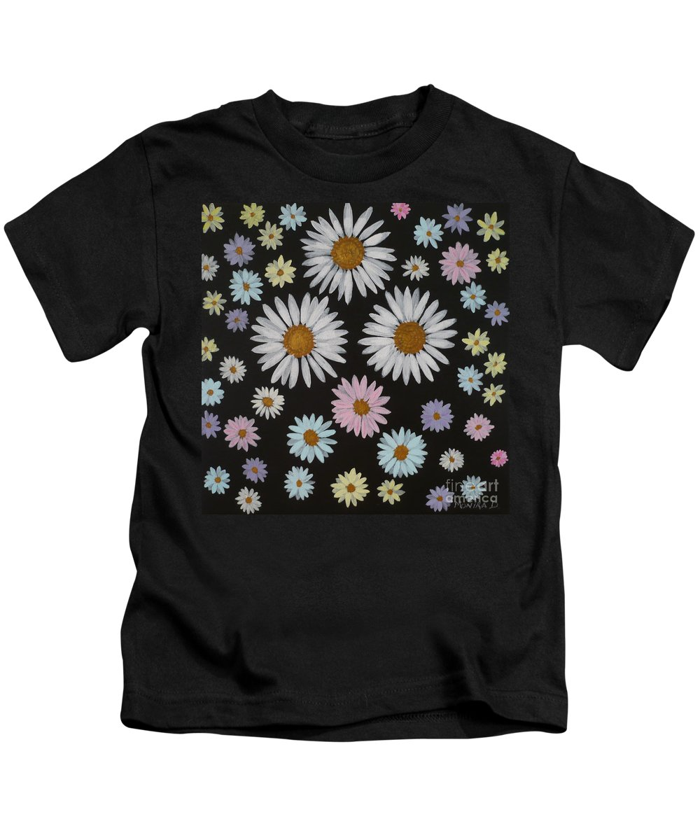 Daisy Kids T-Shirt featuring the painting Daisies On Black by Monika Shepherdson