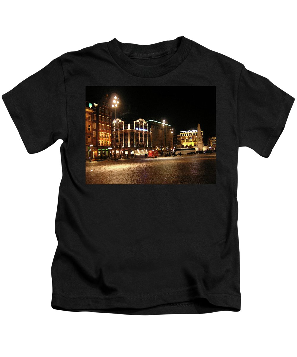 Cityscape Kids T-Shirt featuring the photograph Dam Square Late Night - Amsterdam by Paul Childress