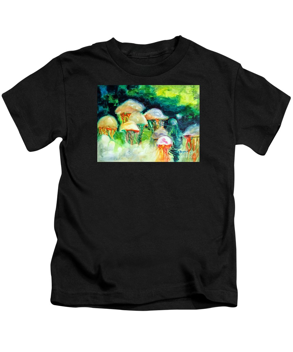 Paintings Kids T-Shirt featuring the painting Dance Of The Jellyfish by Kathy Braud