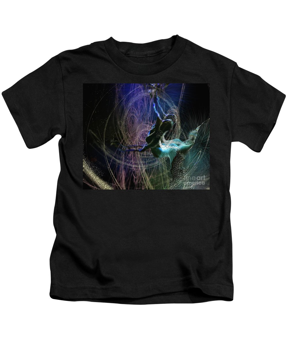 Nature Painting Kids T-Shirt featuring the painting Dance Of The Universe by Miki De Goodaboom