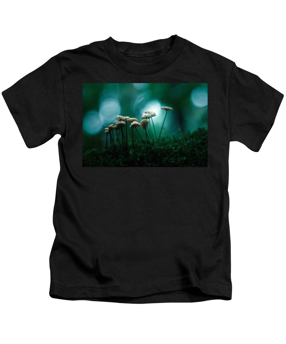 Parasol Mushrooms Kids T-Shirt featuring the photograph Dancing Parasol Mushrooms by Laurie Paci