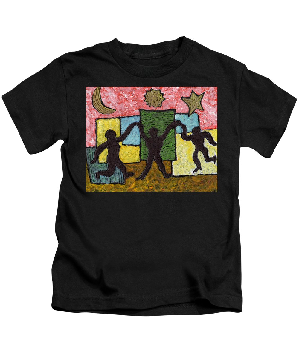 Dancing Kids T-Shirt featuring the painting Dancing With The Stars...and The Sun And The Moon by Wayne Potrafka