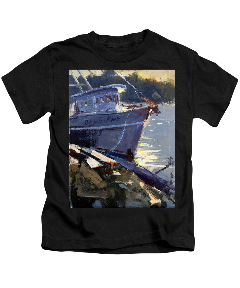 Shrimp Kids T-Shirt featuring the painting Danielle Marie by Spencer Meagher