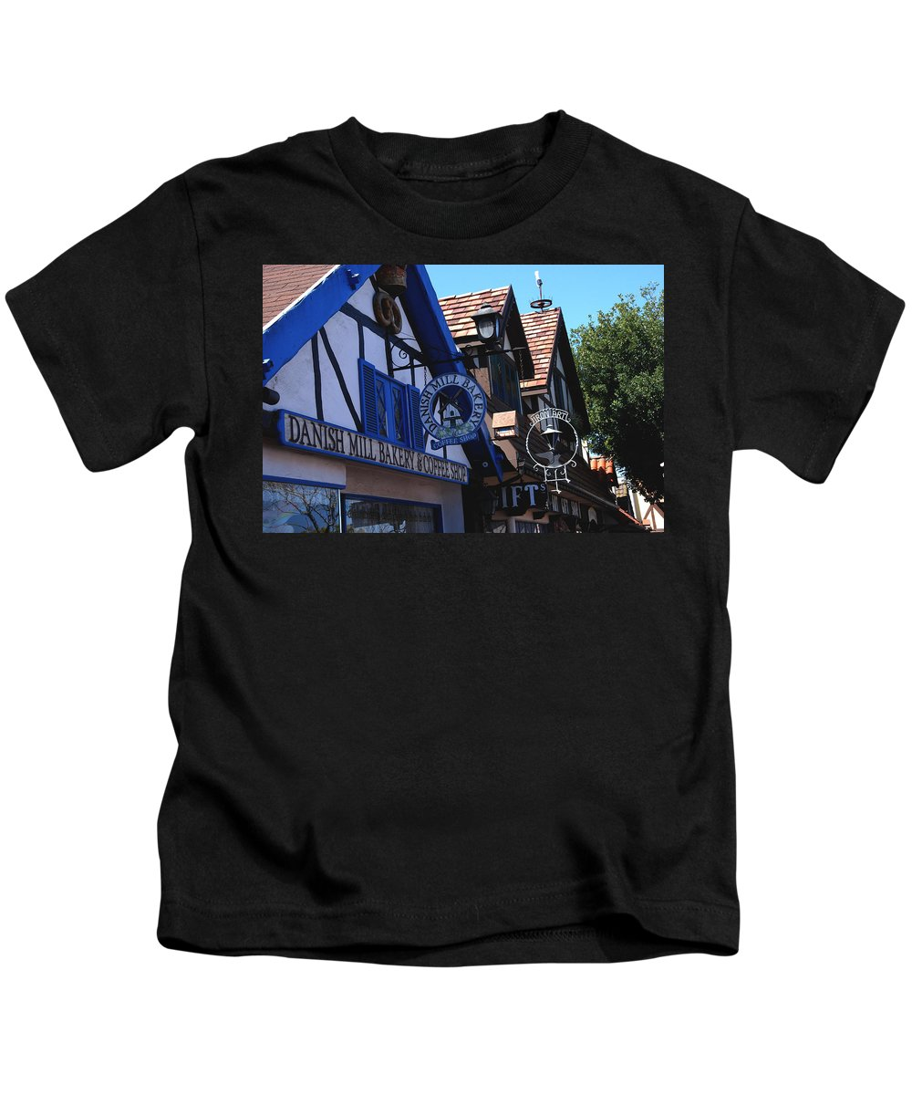 Danish Mill Bakery Kids T-Shirt featuring the photograph Danish Mill Bakery In Solvang California by Susanne Van Hulst