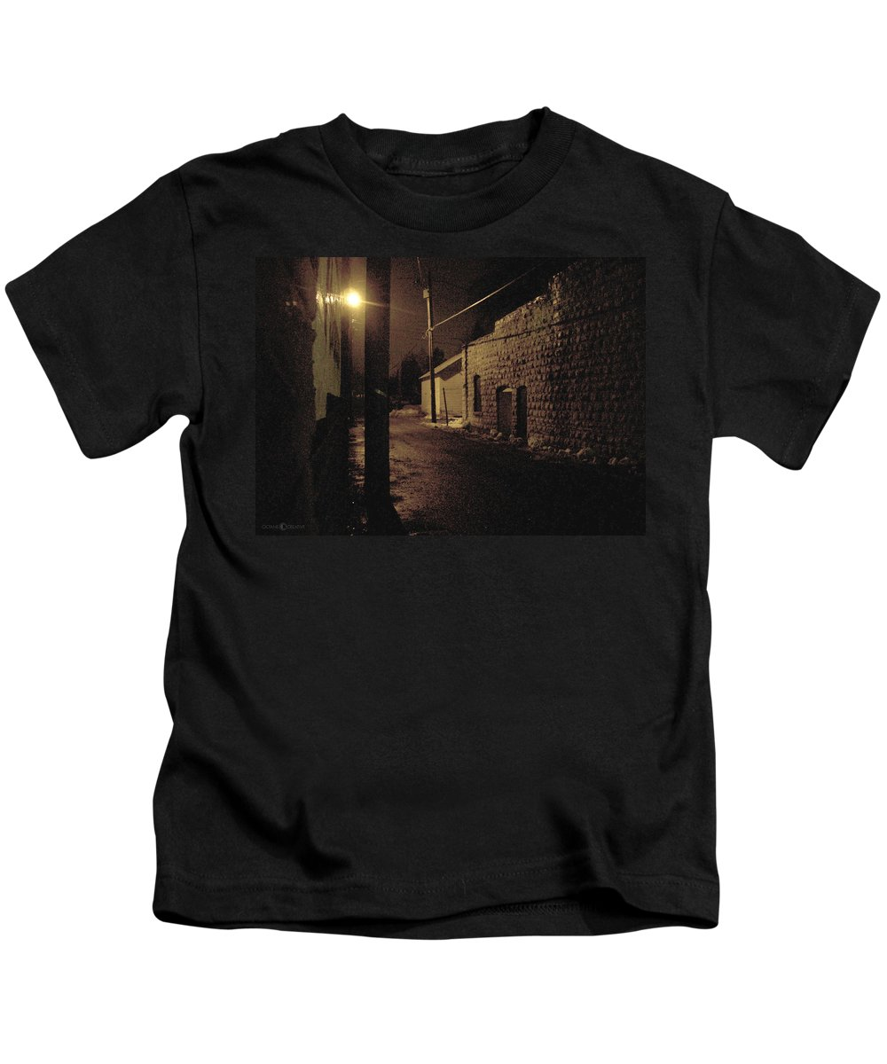 Alley Kids T-Shirt featuring the photograph Dark Alley by Tim Nyberg