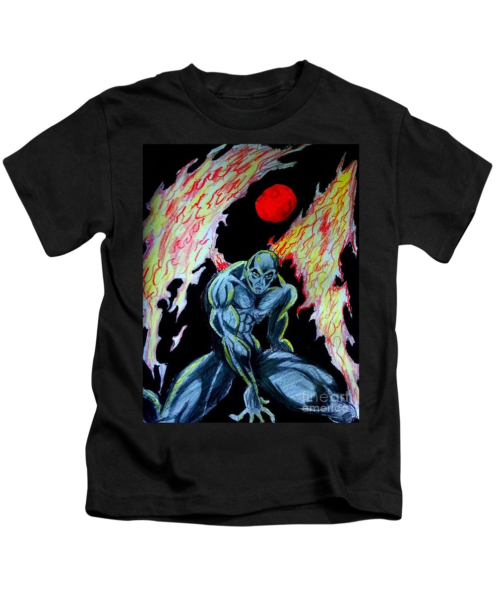 Fire Kids T-Shirt featuring the drawing Dark Angel #2 by Mark Bradley