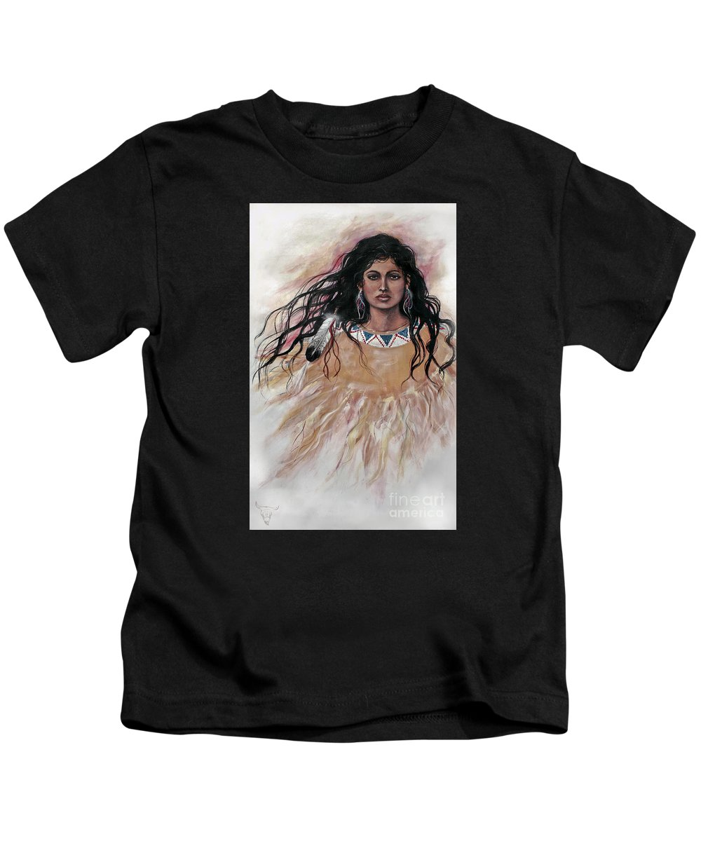Native American Kids T-Shirt featuring the painting Dark Eyes by Kim Marshall