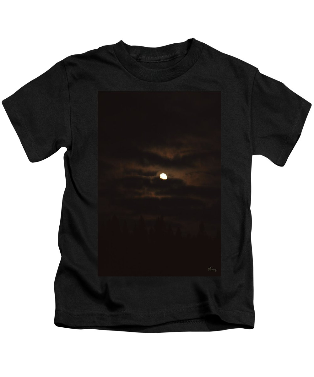 Moon Clouds Night Evening Light Cloudy Sky Trees Moonlight Moonlit Kids T-Shirt featuring the photograph Dark Night by Andrea Lawrence