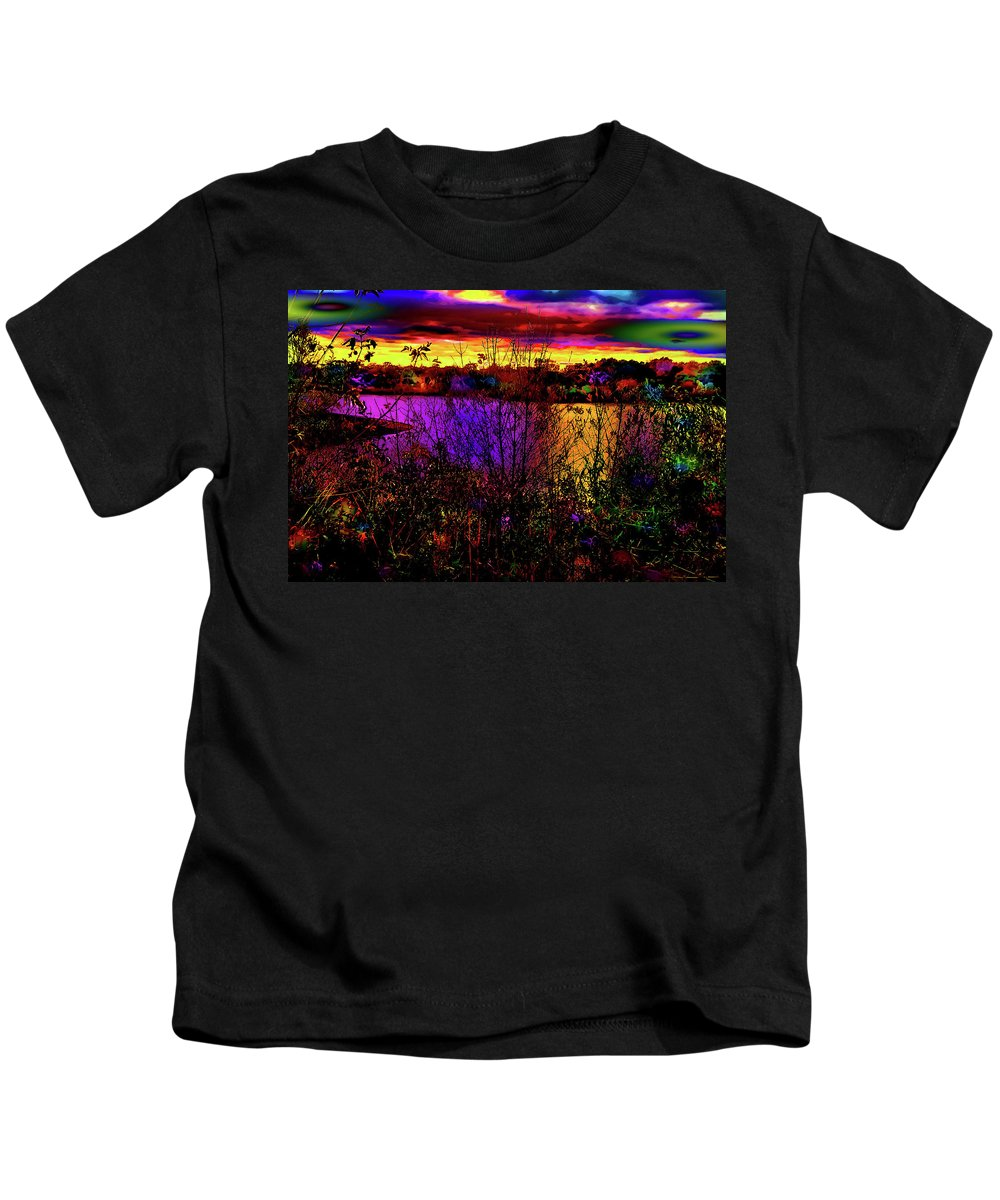 World's Kids T-Shirt featuring the digital art Dark Psychedelic Sunset by Ron Fleishman