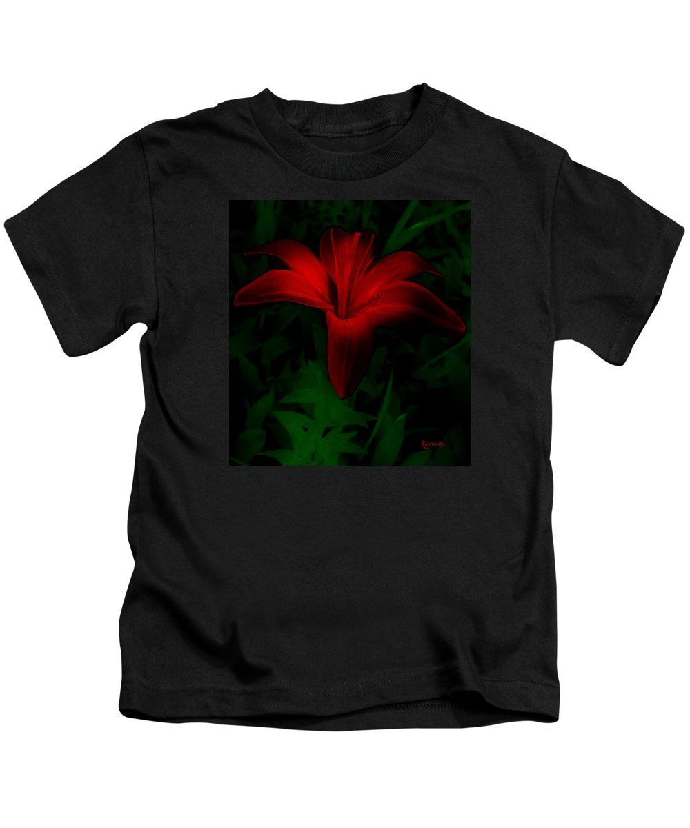 Lily Kids T-Shirt featuring the painting Dark Star by RC DeWinter