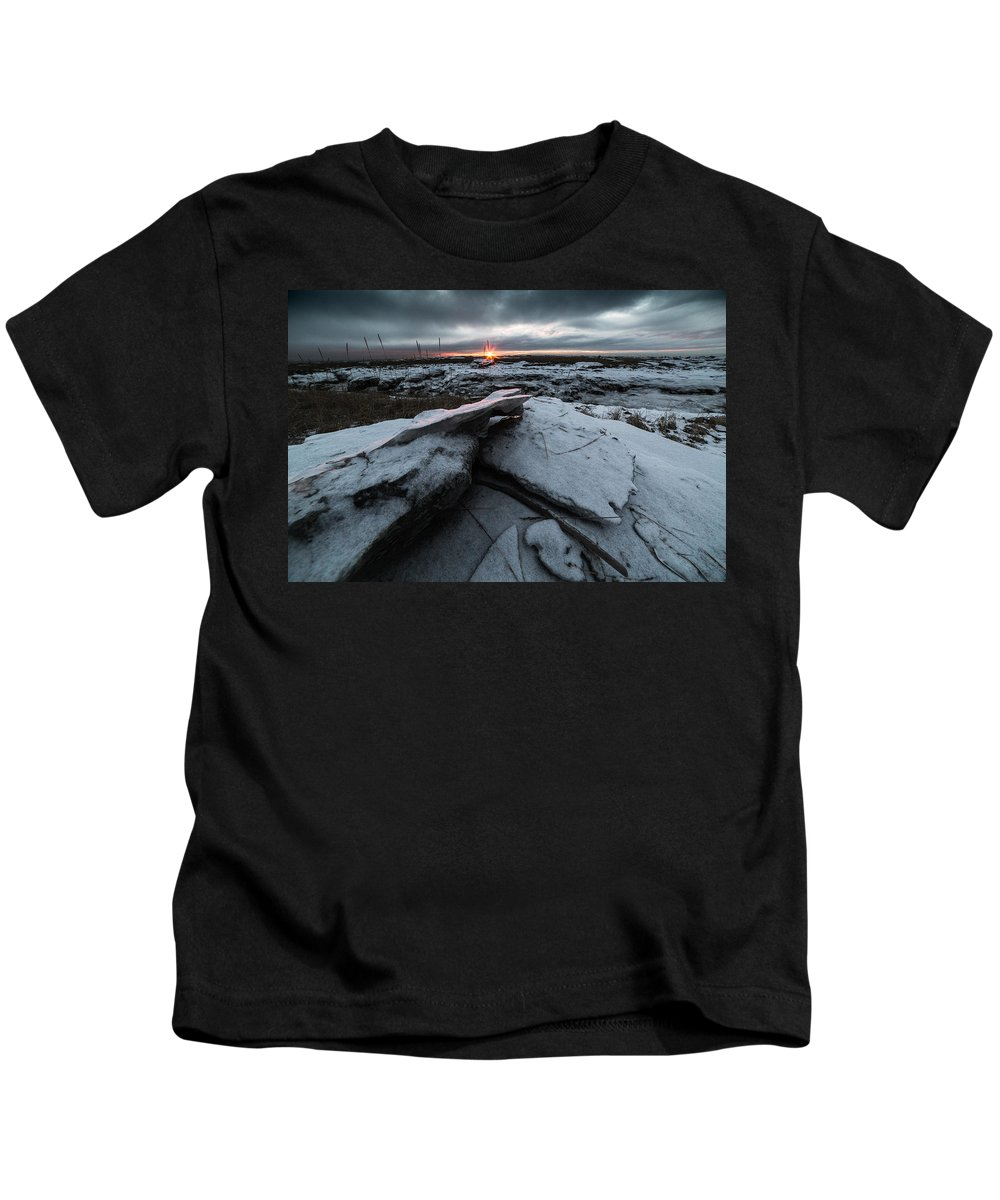 Winter Kids T-Shirt featuring the photograph Darkness Falls by Matt Skinner