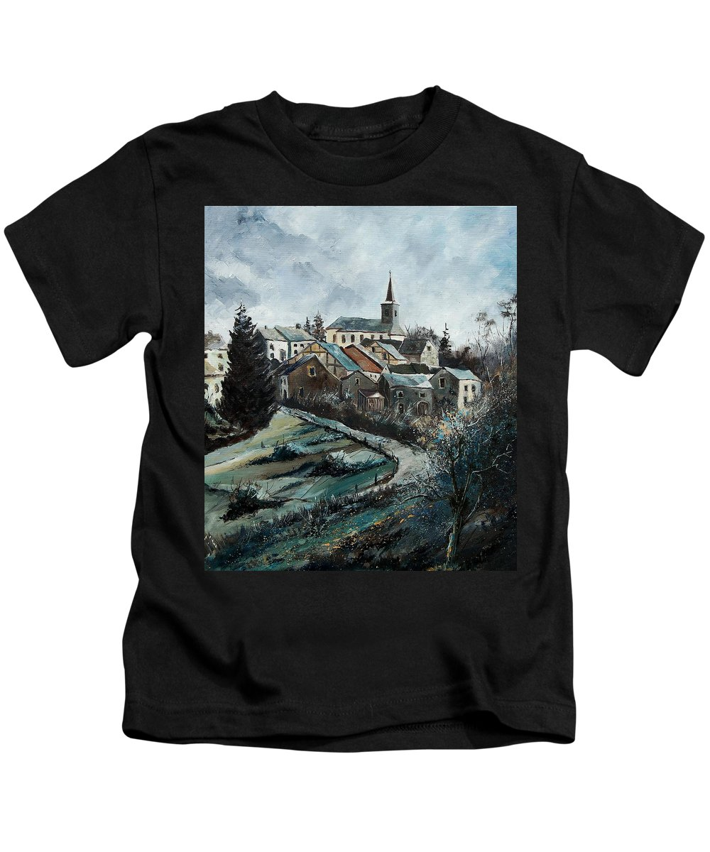 Village Kids T-Shirt featuring the painting Daverdisse 78 by Pol Ledent