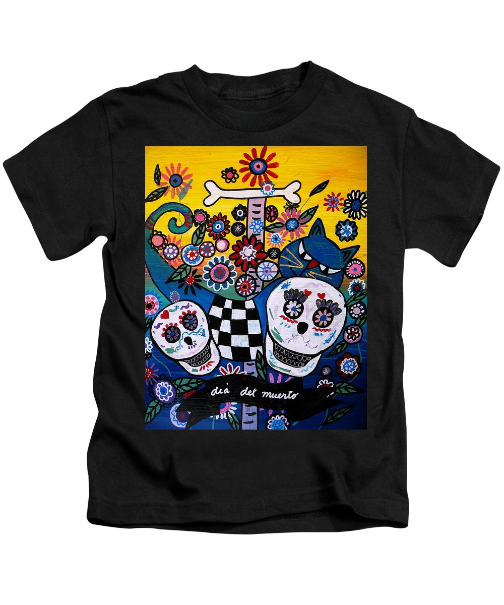 Cat Kids T-Shirt featuring the painting Day Of The Dead by Pristine Cartera Turkus