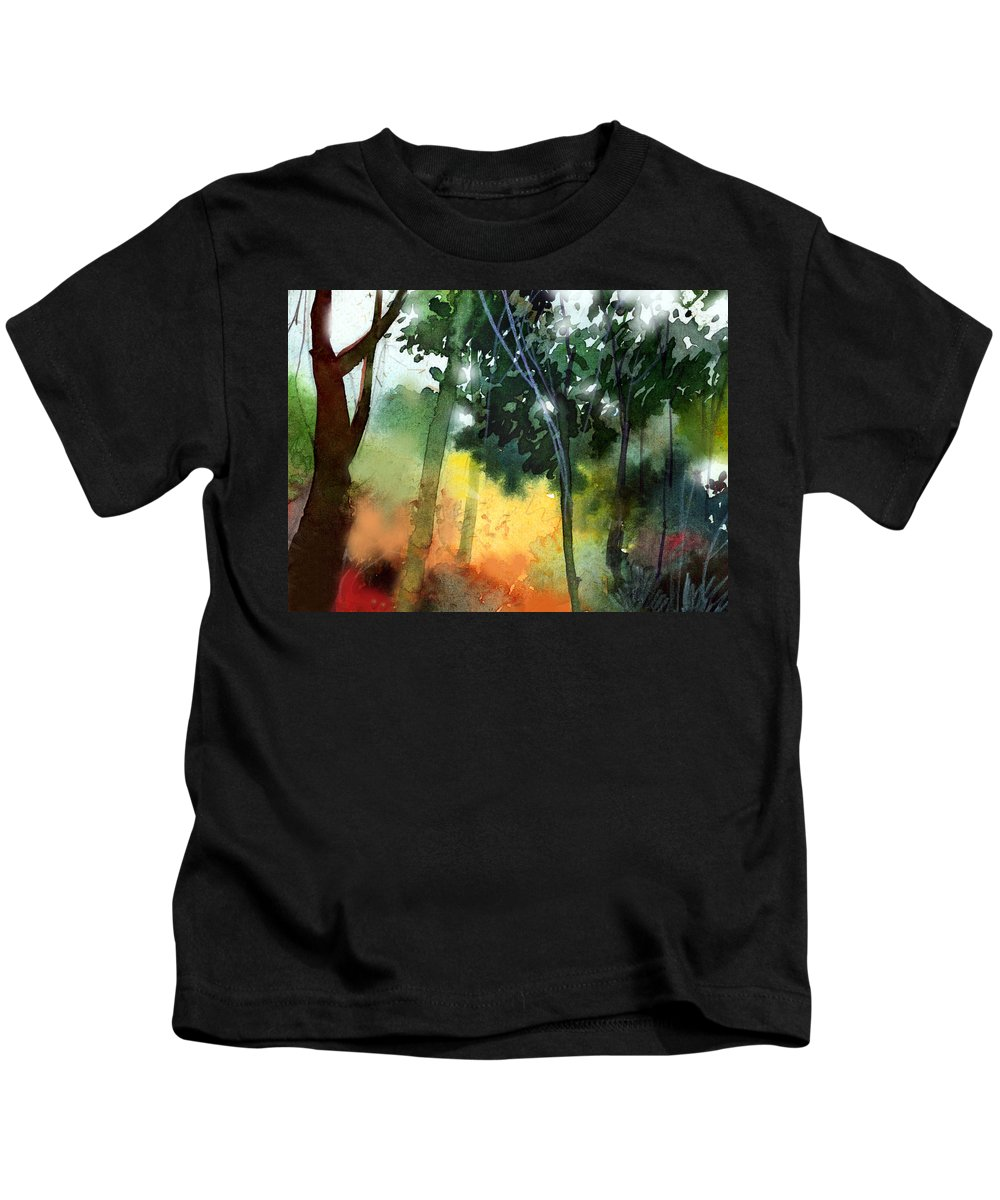 Water Color Kids T-Shirt featuring the painting Daybreak by Anil Nene
