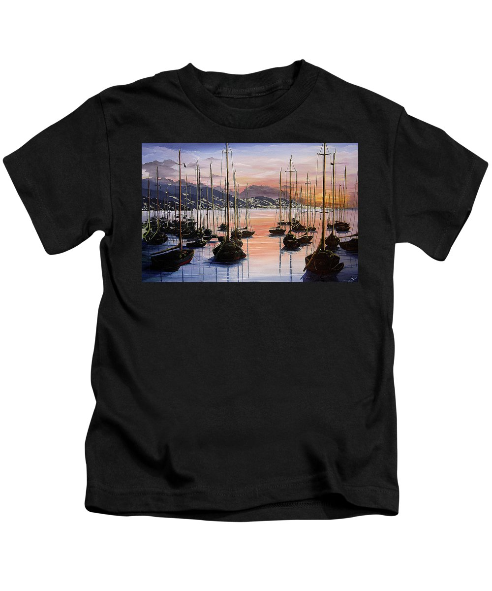 Seascape Painting Yacht Painting Harbour Painting Port Of Spain Trinidad And Tobago Painting Caribbean Painting Tropical Seascape Yachts  Painting Boats Dawn Breaking Greeting Card Painting Kids T-Shirt featuring the painting Daybreak by Karin Dawn Kelshall- Best