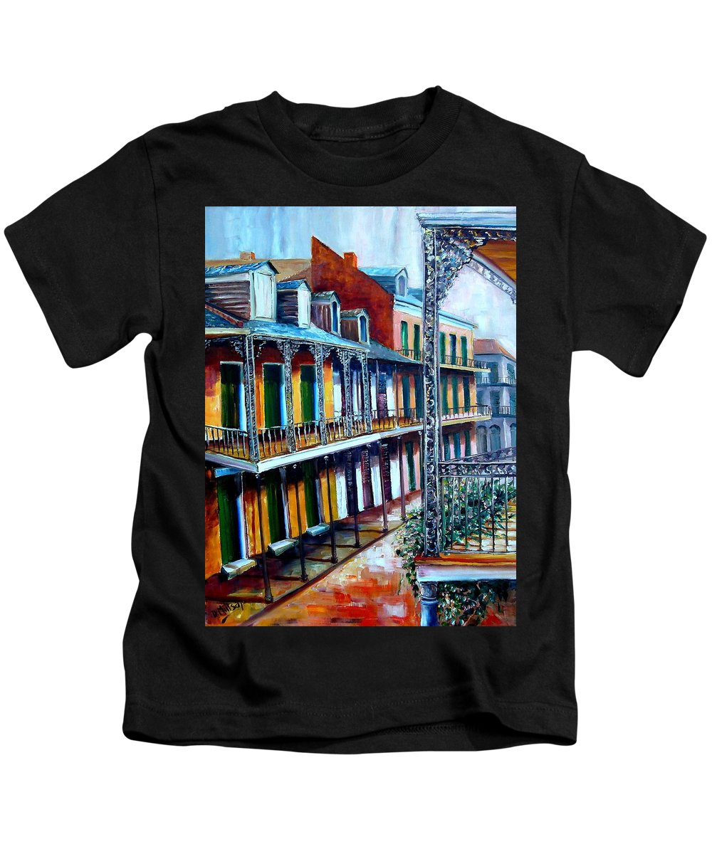 New Orleans Kids T-Shirt featuring the painting Daybreak On St. Ann Street by Diane Millsap