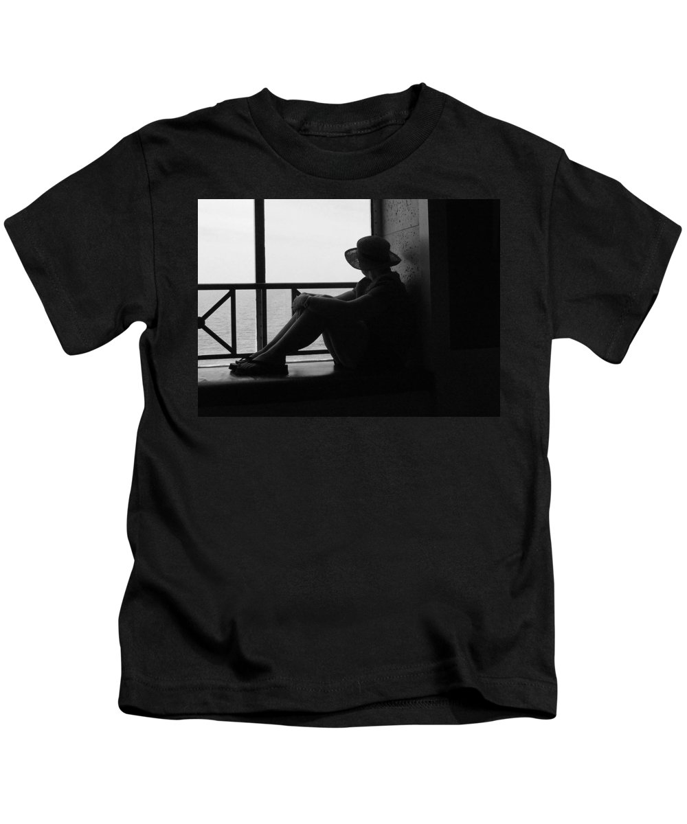 Black And White Kids T-Shirt featuring the photograph Daydreaming by Robert Meanor