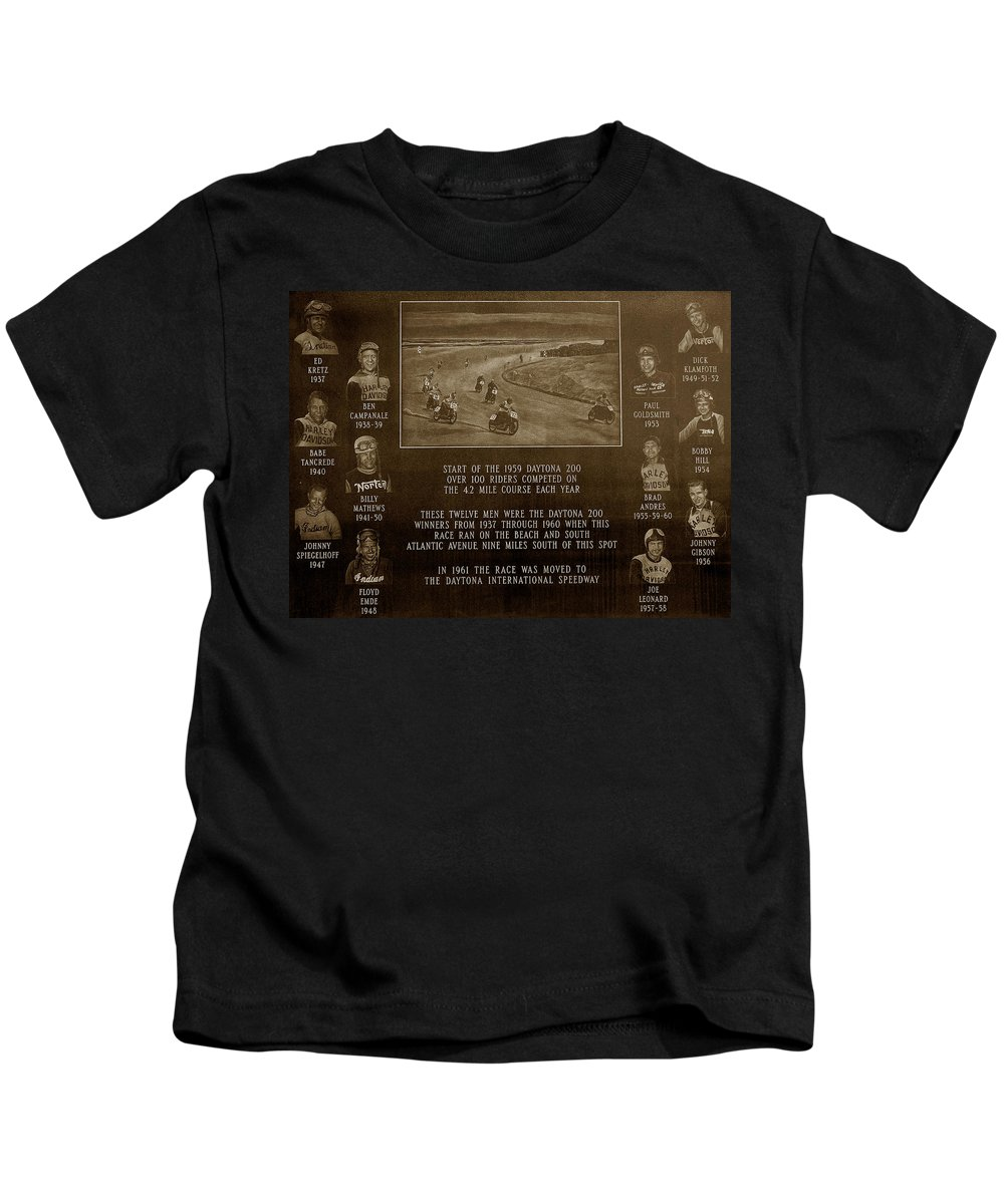 Dayton 200 Bike Race Kids T-Shirt featuring the photograph Daytona 200 Plaque by David Lee Thompson