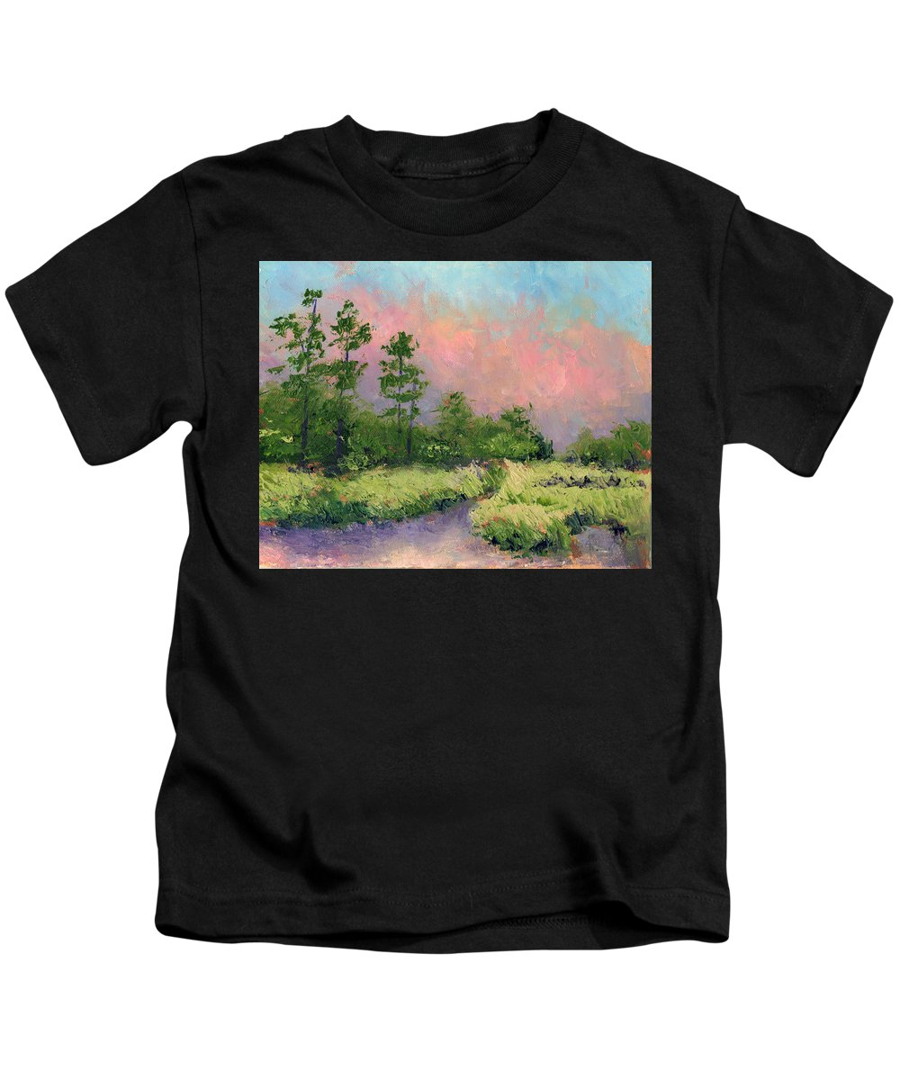 Florida Kids T-Shirt featuring the painting Daytona Pines by Diane Martens