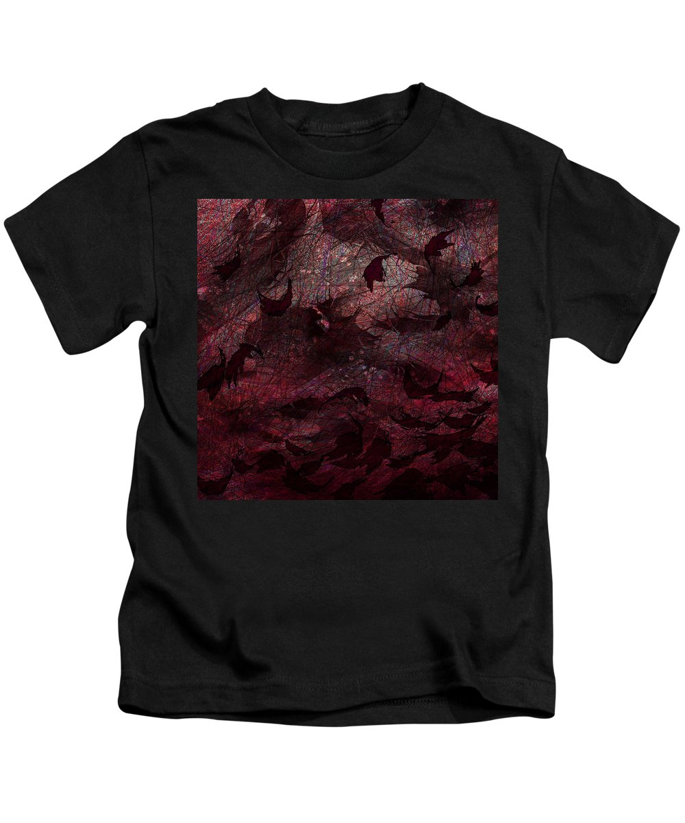 Abstract Kids T-Shirt featuring the digital art Dead Leaves by Rachel Christine Nowicki