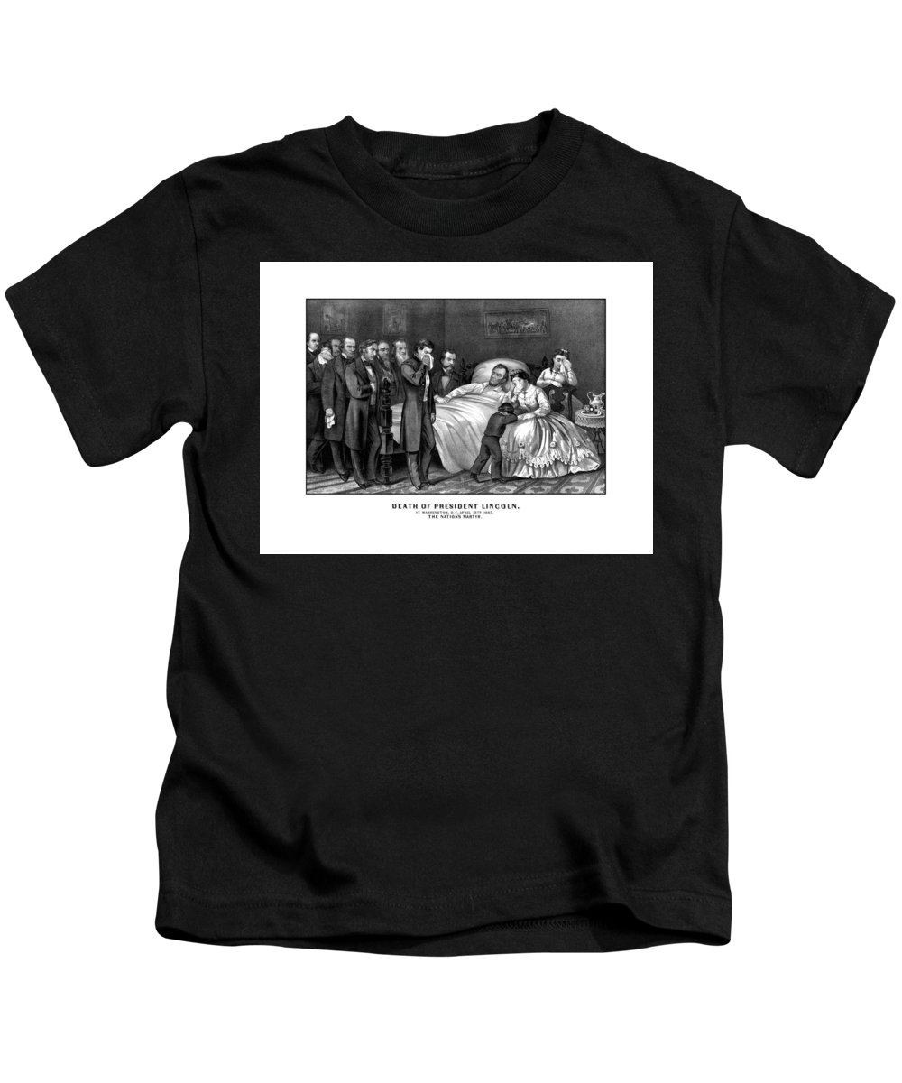 Abraham Lincoln Kids T-Shirt featuring the drawing Death Of President Lincoln by War Is Hell Store