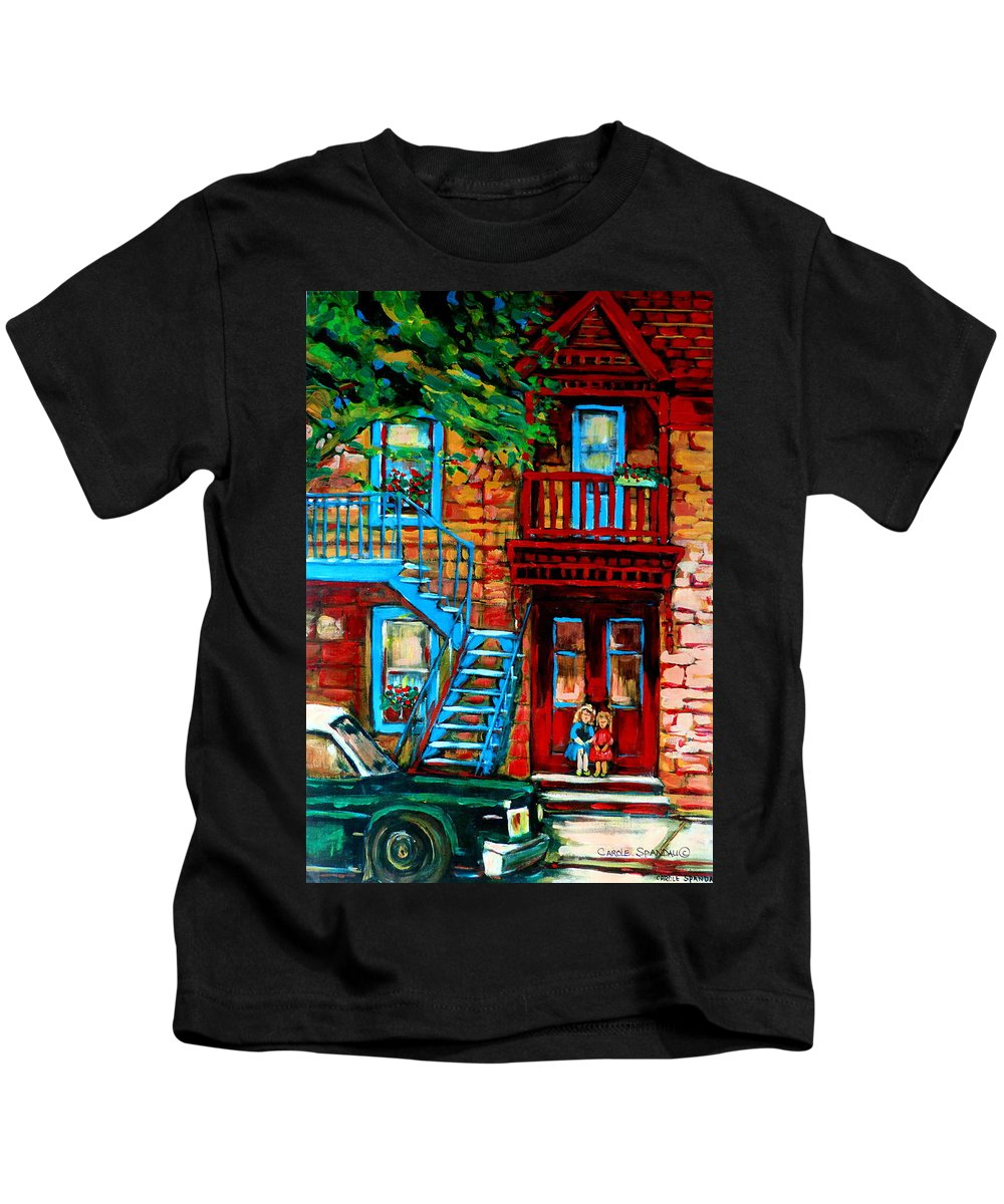 Montreal Streetscenes Kids T-Shirt featuring the painting Debullion Street Neighbors by Carole Spandau