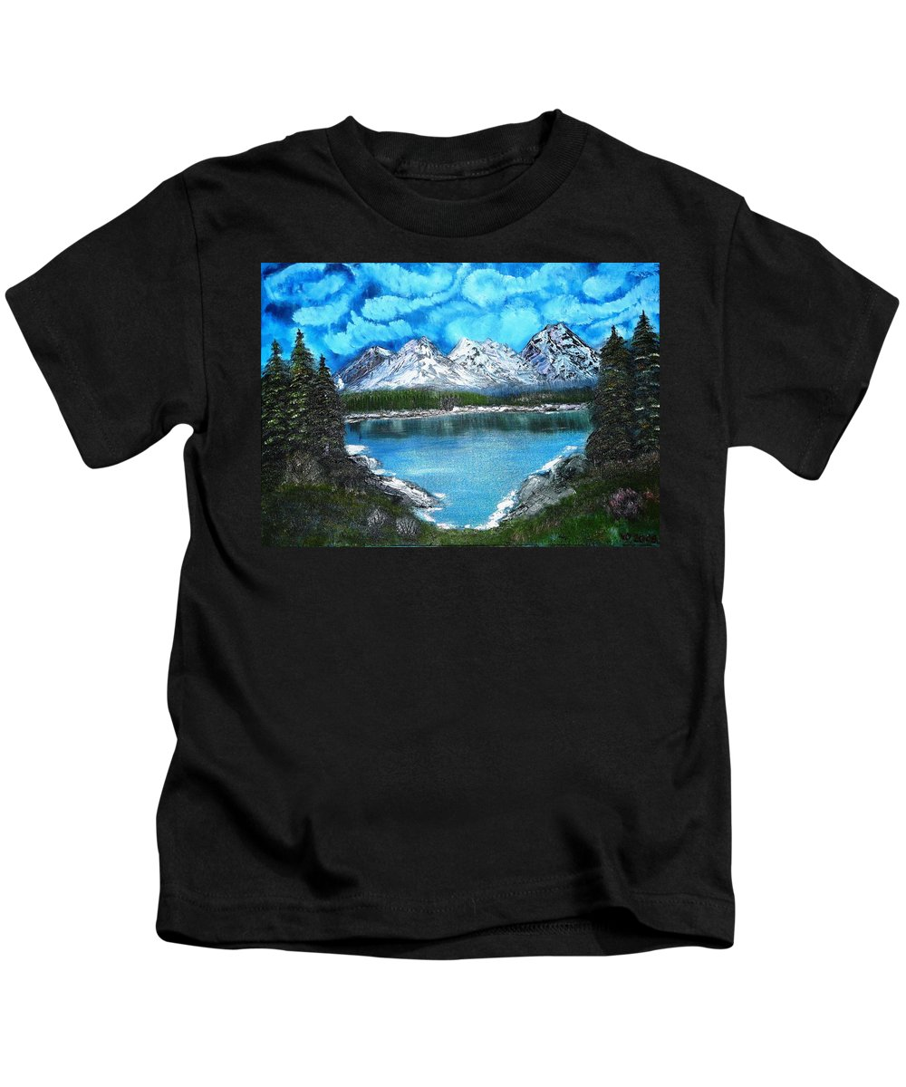 Landscape Kids T-Shirt featuring the painting Deep Mountain Lake by Valerie Ornstein