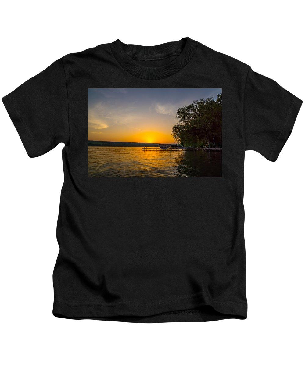 Keuka Lake Kids T-Shirt featuring the photograph Deep Orange Sunset Over Keuka Lake by Photographic Arts And Design Studio