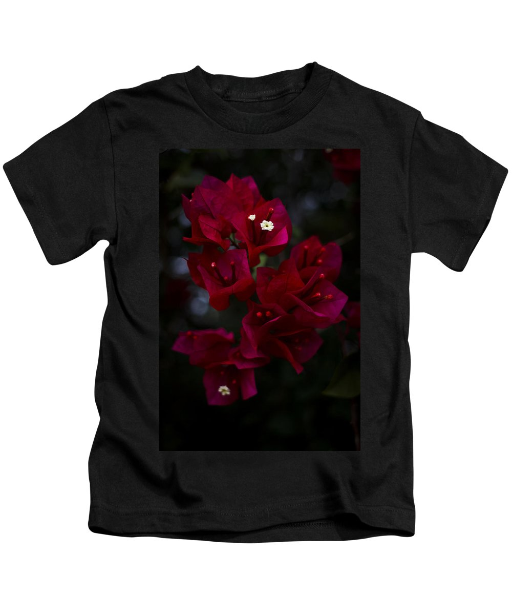 [beautiful Paper Flower] Kids T-Shirt featuring the photograph Deep Scarlet Glabra by Mario Morales Rubi