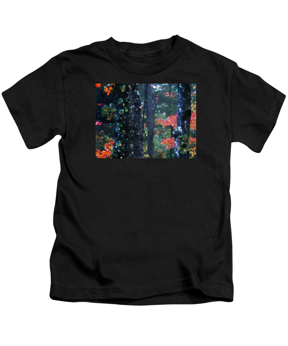 Landscape Kids T-Shirt featuring the digital art Deep Woods Mystery by Dave Martsolf
