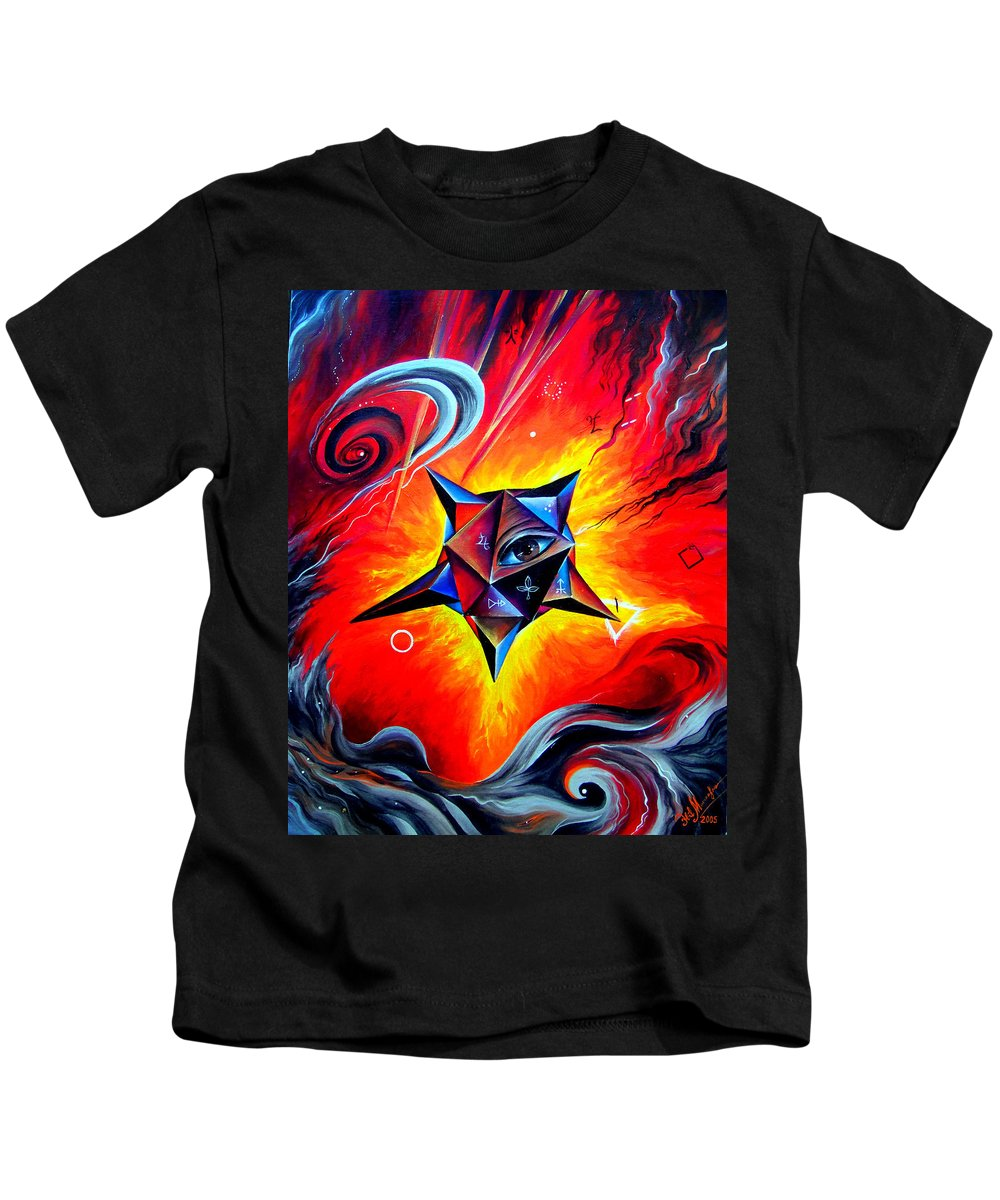 Defender Kids T-Shirt featuring the painting Defender Of The Way To Nirvana by Sofia Metal Queen