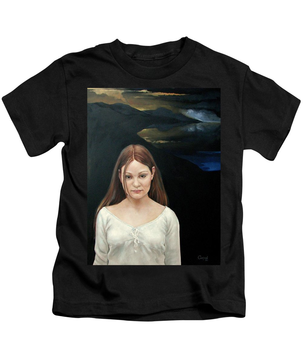Facial Expressioin Kids T-Shirt featuring the painting Defiant Girl 2004 by Jerrold Carton