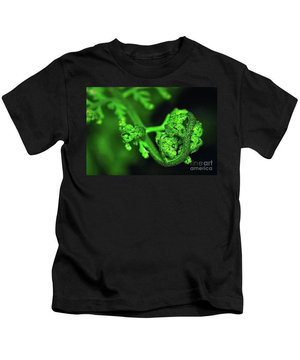 Photography Kids T-Shirt featuring the photograph Delicate Fern Unfolding by Kaye Menner