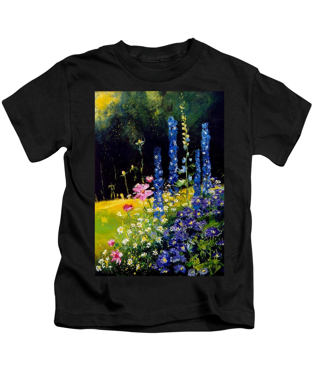 Poppies Kids T-Shirt featuring the painting Delphiniums by Pol Ledent