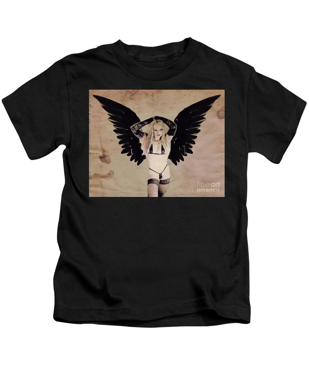 Vampire Kids T-Shirt featuring the digital art Demon Girl By Mb by Mary Bassett