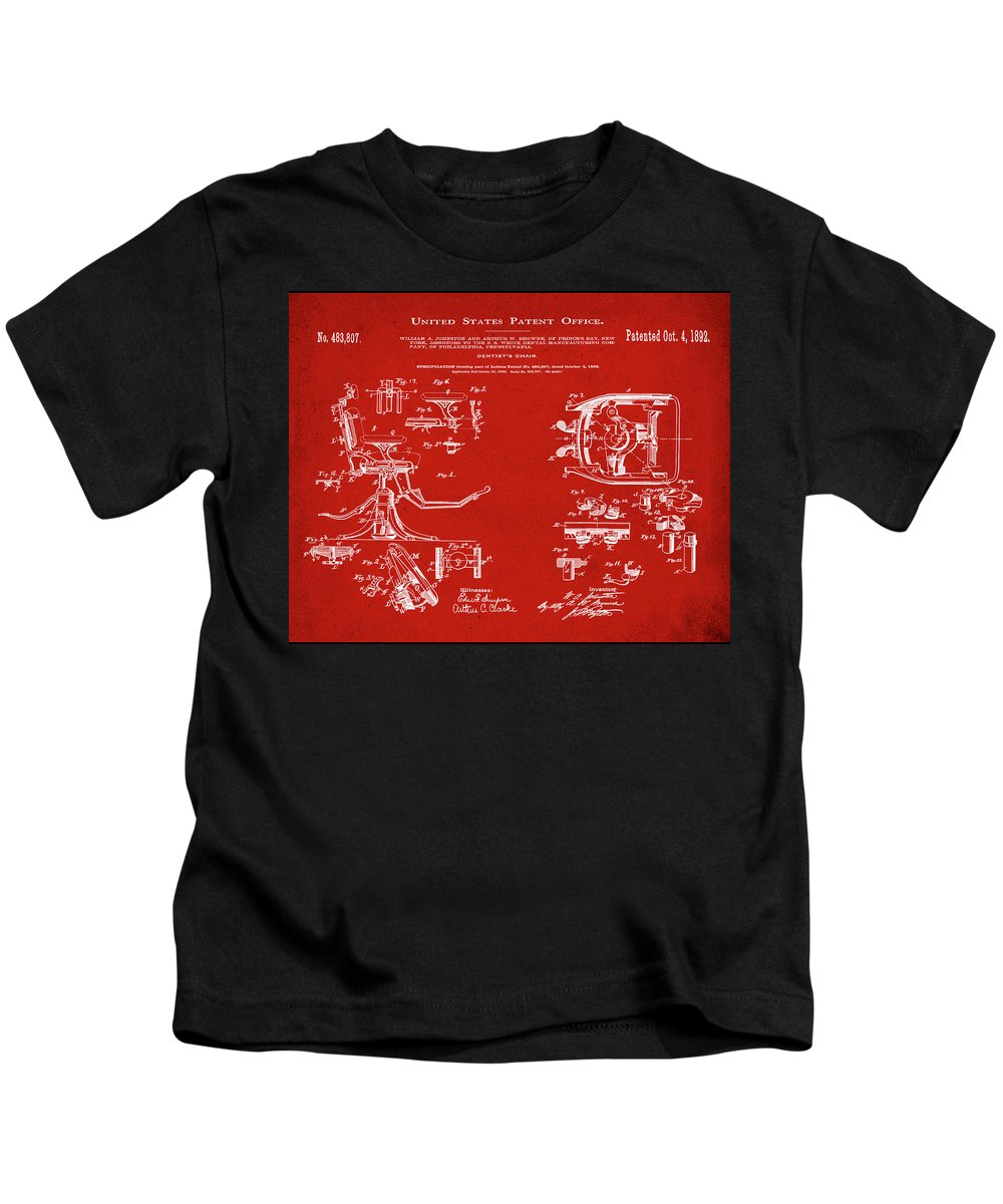 Dentists Kids T-Shirt featuring the digital art Dentists Chair Patent 1892 In Red by Bill Cannon