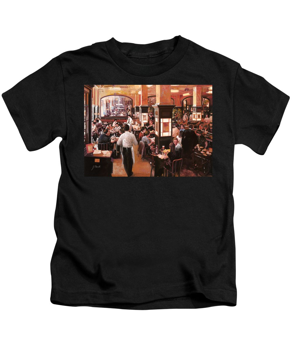 Coffee Shop Kids T-Shirt featuring the painting Dentro Il Caffe by Guido Borelli